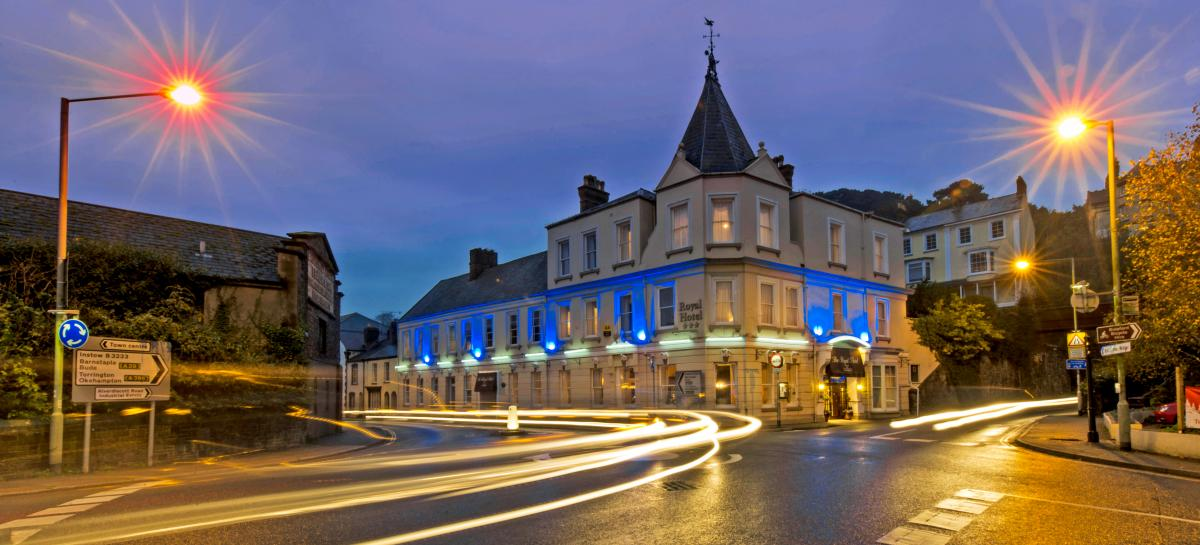 The Royal Hotel Bideford at Night